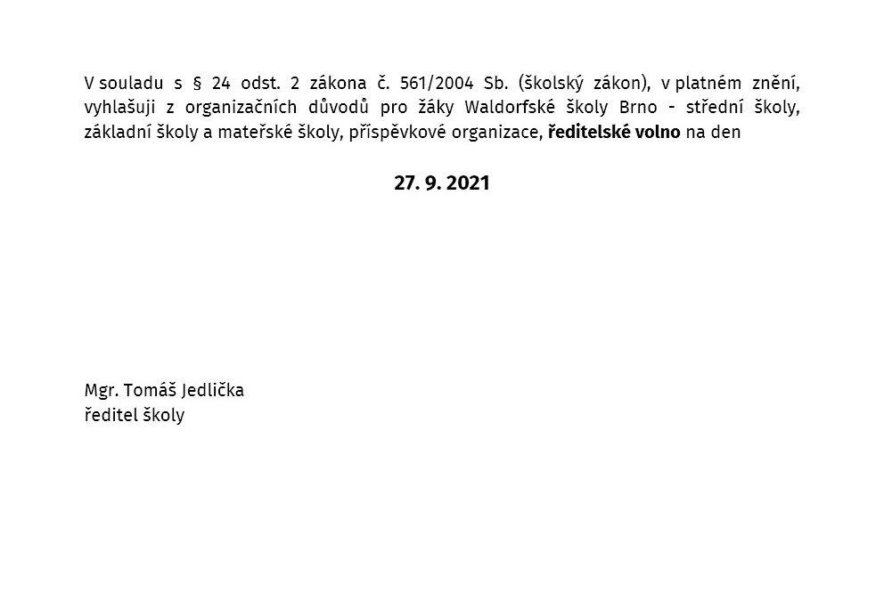 Vyhlášení ředitelského volna na 27. 9. 2021
